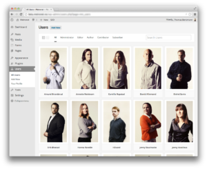 Grid view for Users section in WordPress admin panel