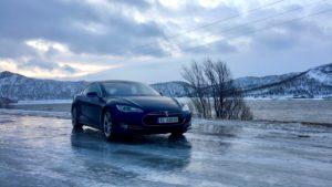 Tesla Model S on icy roads