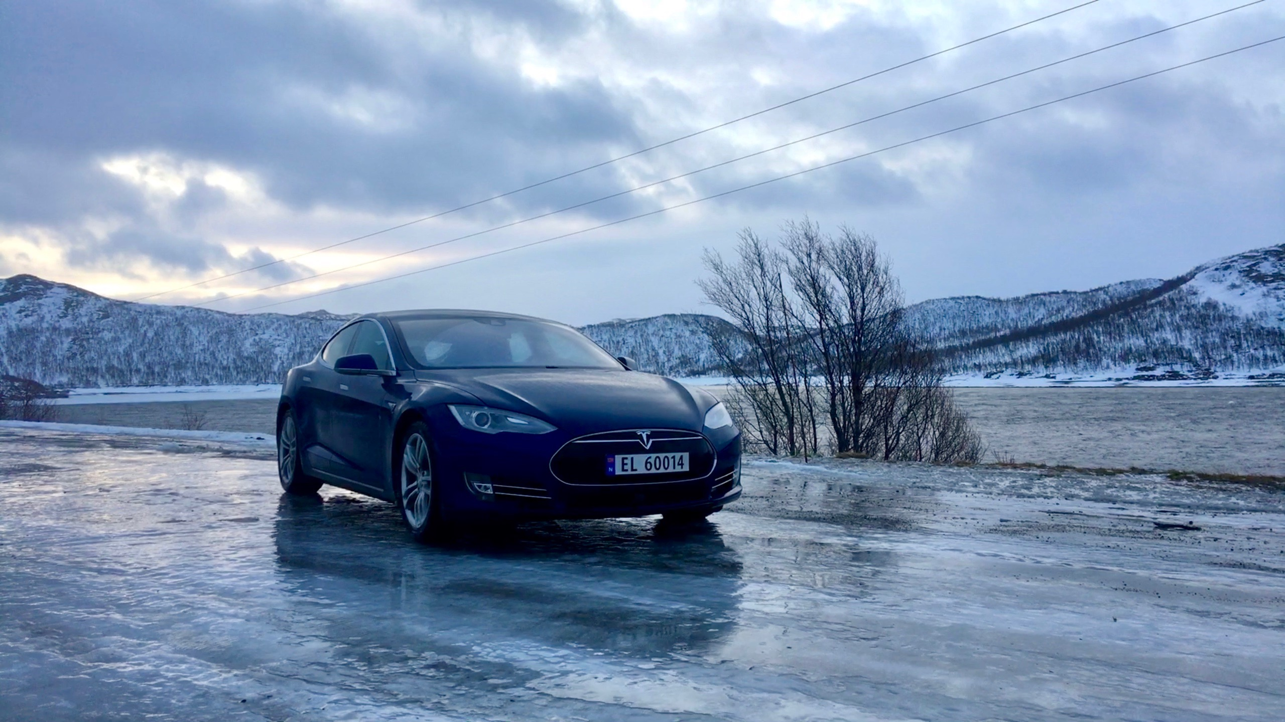 Tesla Model S on icy roads